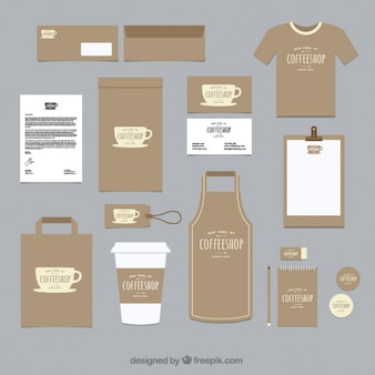 Coffee shop corporative identity with a cup