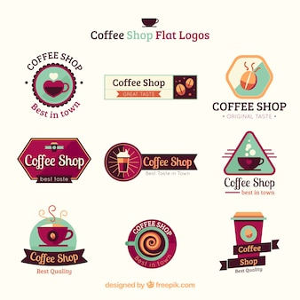 Coffee shop flat logo collection