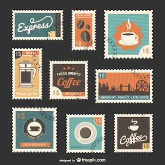 Coffee stamps set
