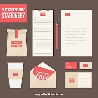 Coffee stationery in flat design