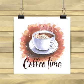 木製の背景にコーヒータイムのイラスト