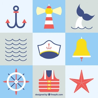 Collage of flat sailing elements