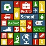 Collage of school materials