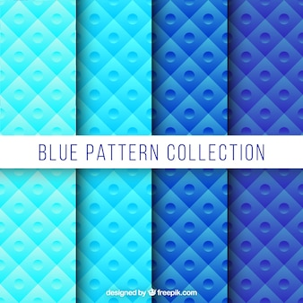 Collection abstract pattern in blue color
