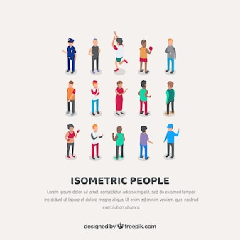 Collection background of isometric people