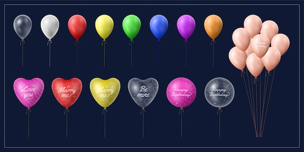 Collection of balloons for event and celebration
