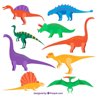 Collection colored flat dinosaur