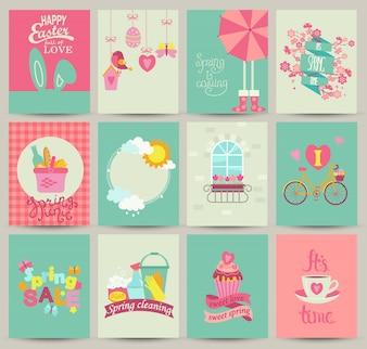 12枚の春のカードテンプレートのコレクション