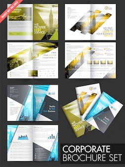 Collection of 3 brochures with four pages design template.