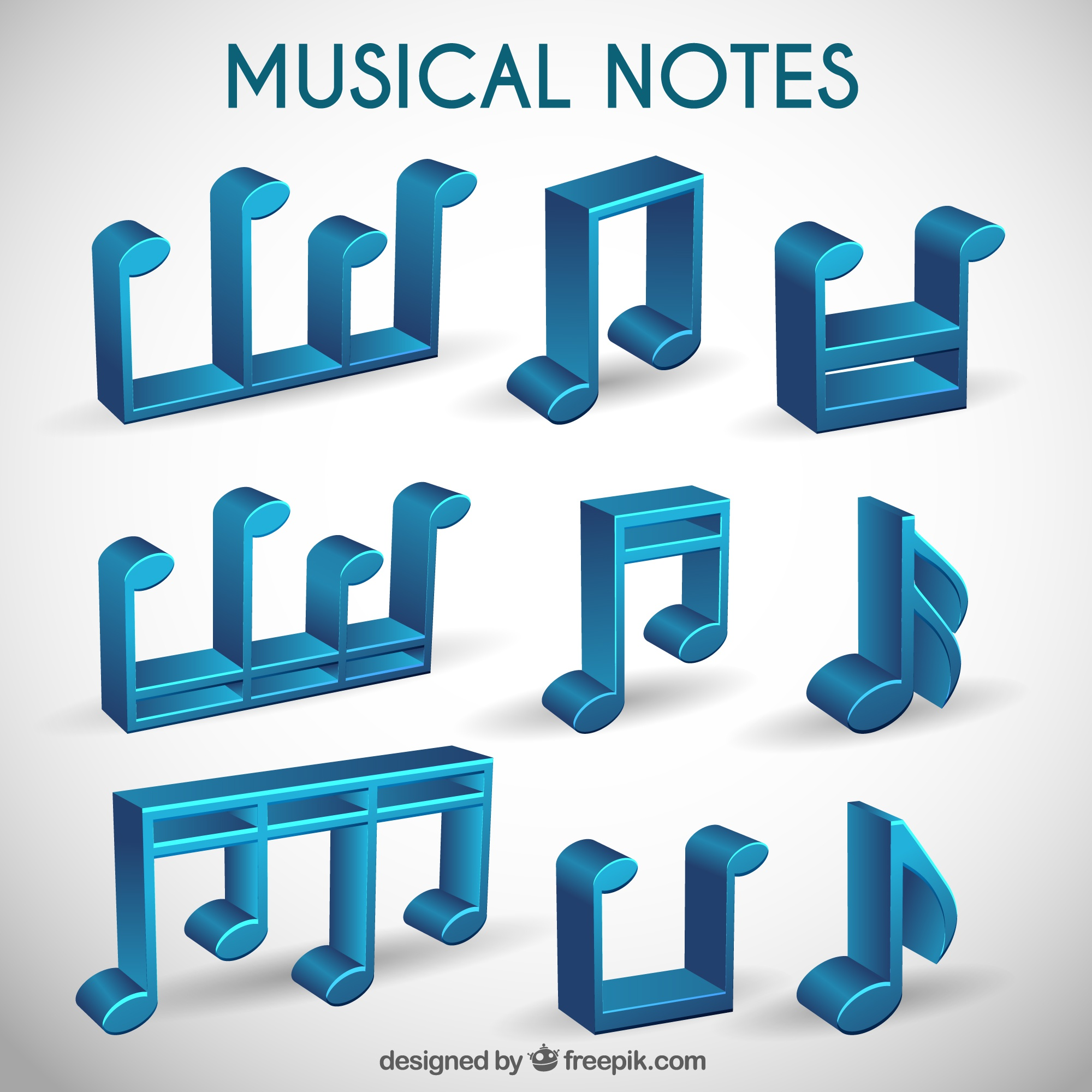 Collection of 3d musical notes