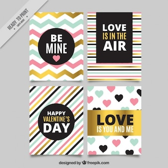 Collection of abstract cards with golden details and messages of love