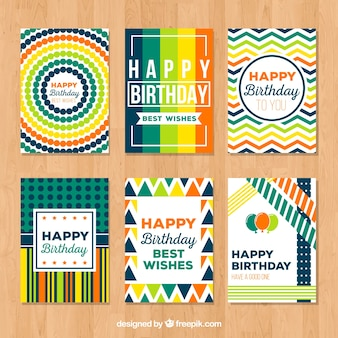 Collection of abstract colorful card for happy birthday