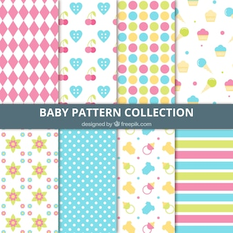 Collection of abstract decorative patterns and baby elements
