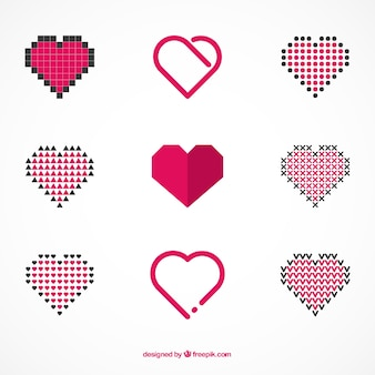 Collection of abstract hearts