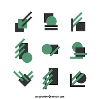 Collection of abstract logos in geometric style