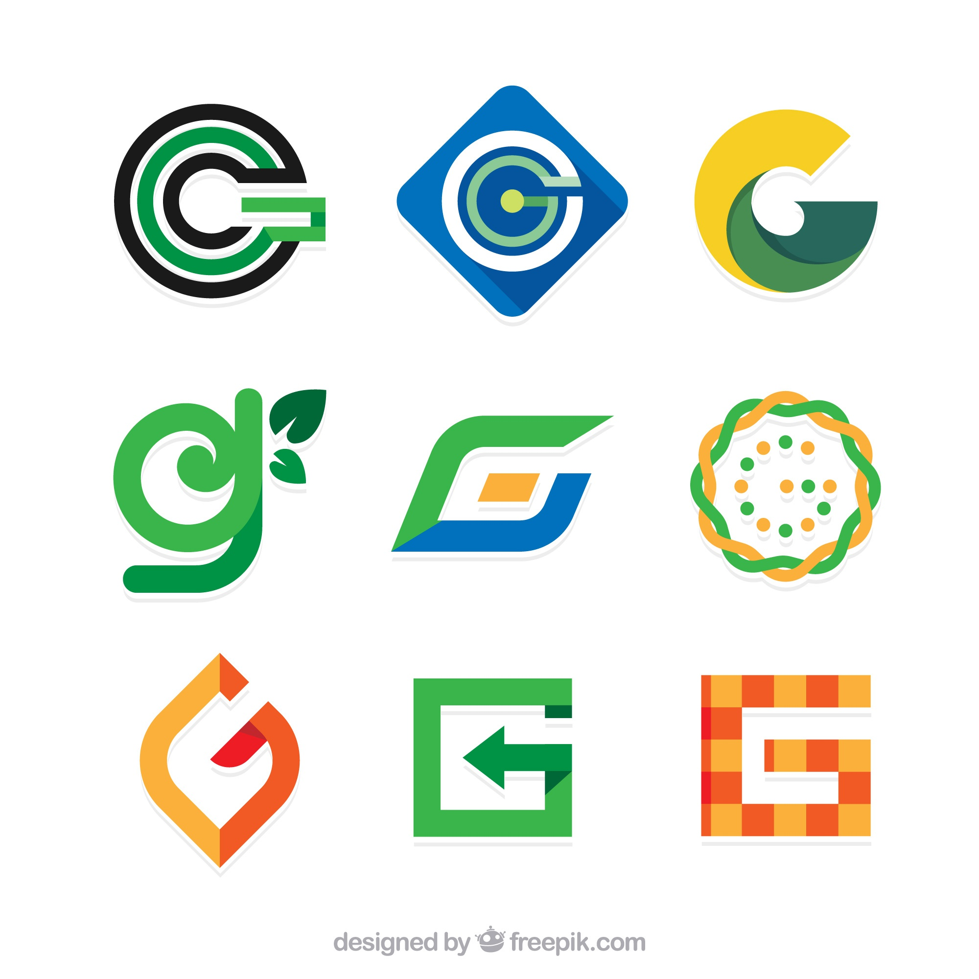 Collection of abstract logos of letter g in flat design