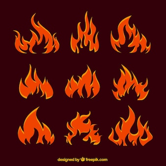 Collection of abstract orange flames