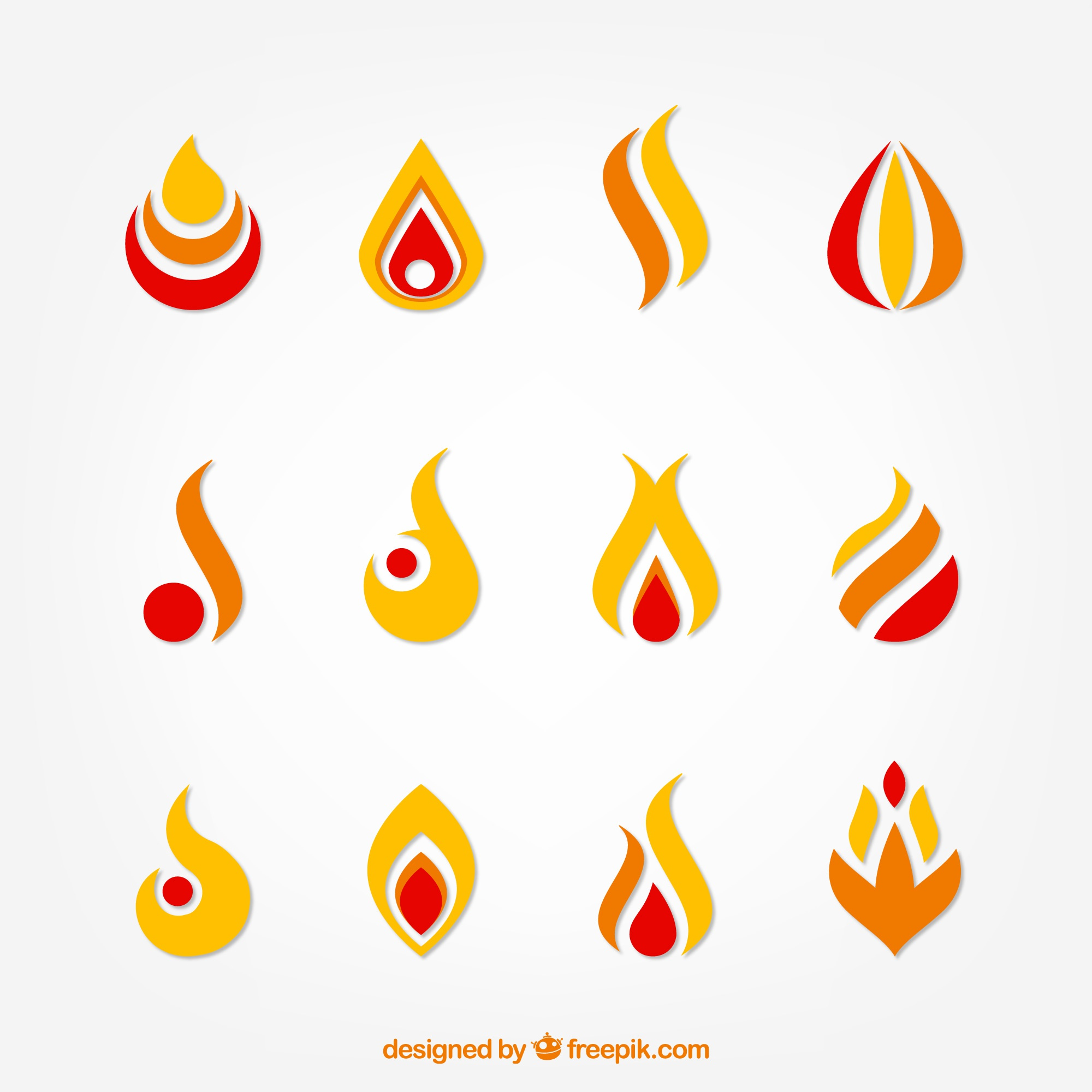 Collection of abstract useful flames for logos