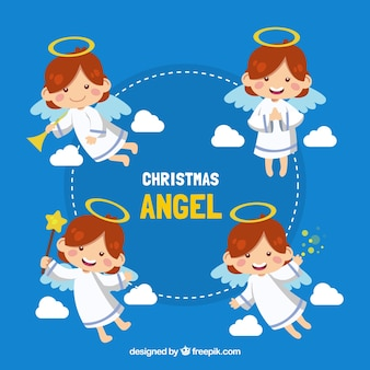 Collection of adorable angel in different postures