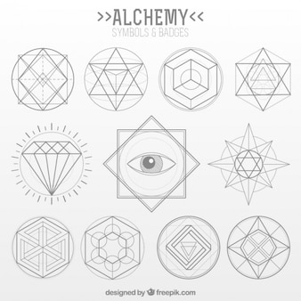 Collection of alchemy symbol in linear style