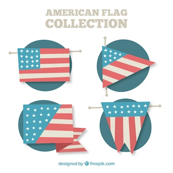 Collection of american flags in flat design