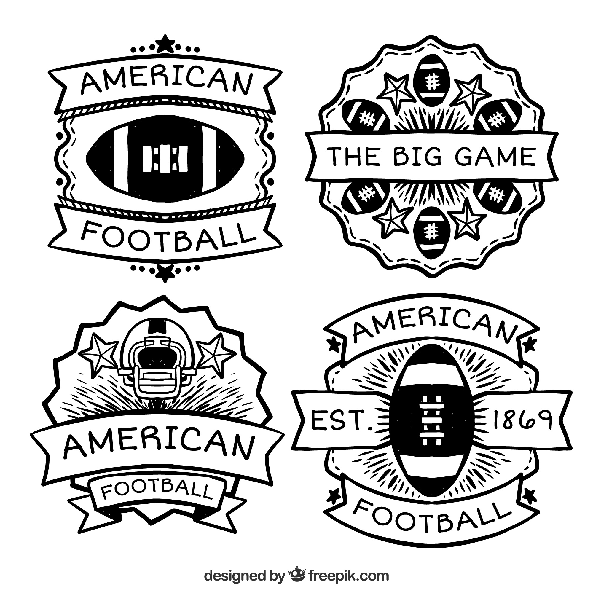 Collection of american footballl badges with great designs