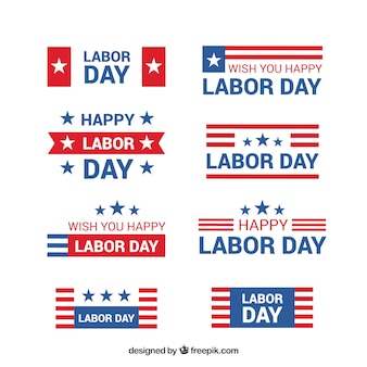 Collection of american labor day stickers