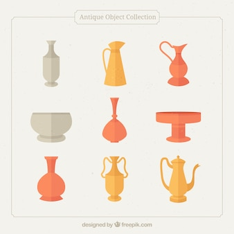 Collection of ancient vases in flat design