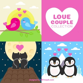 Collection of animals in love