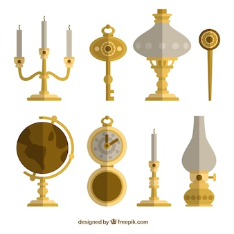 Collection of antique decor in flat design