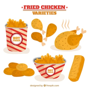 Collection of appetizing fried chicken