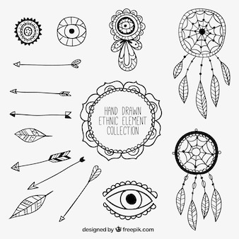 Collection of arrows and ethnic hand drawn elements
