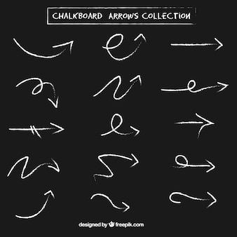 Collection of arrows with chalk effect