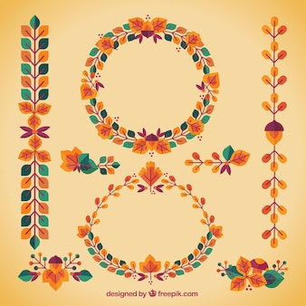Collection of autumn decorative elements in vintage style