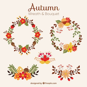 Collection of autumnal wreath in vintage style