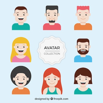 Collection of avatars in flat design