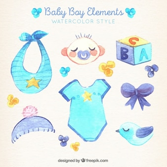 Collection of baby boy elements in watercolor style