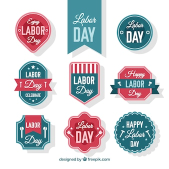 Collection of badges for labor day with classic style