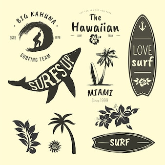 Collection of badges for surfers
