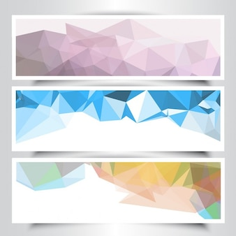 Collection of banners with abstract geometrical design