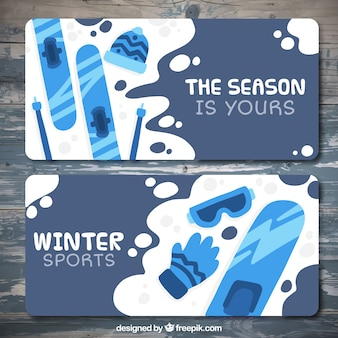 Collection of banners with different winter sports items