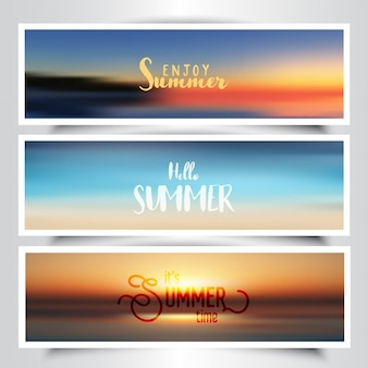 Collection of banners with summer background
