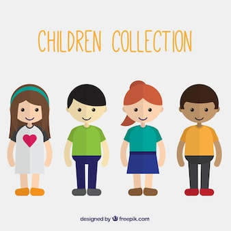 Collection of beautiful children in flat design