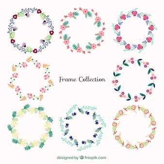 Collection of beautiful floral wreath