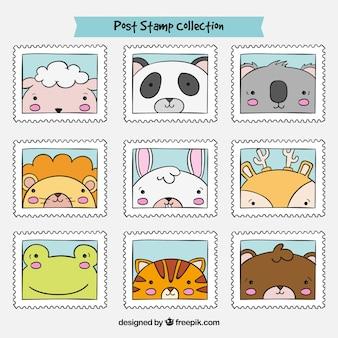 Collection of beautiful hand drawn animal stamps