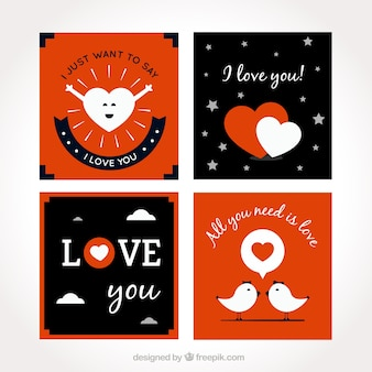 Collection of beautiful love cards with white details
