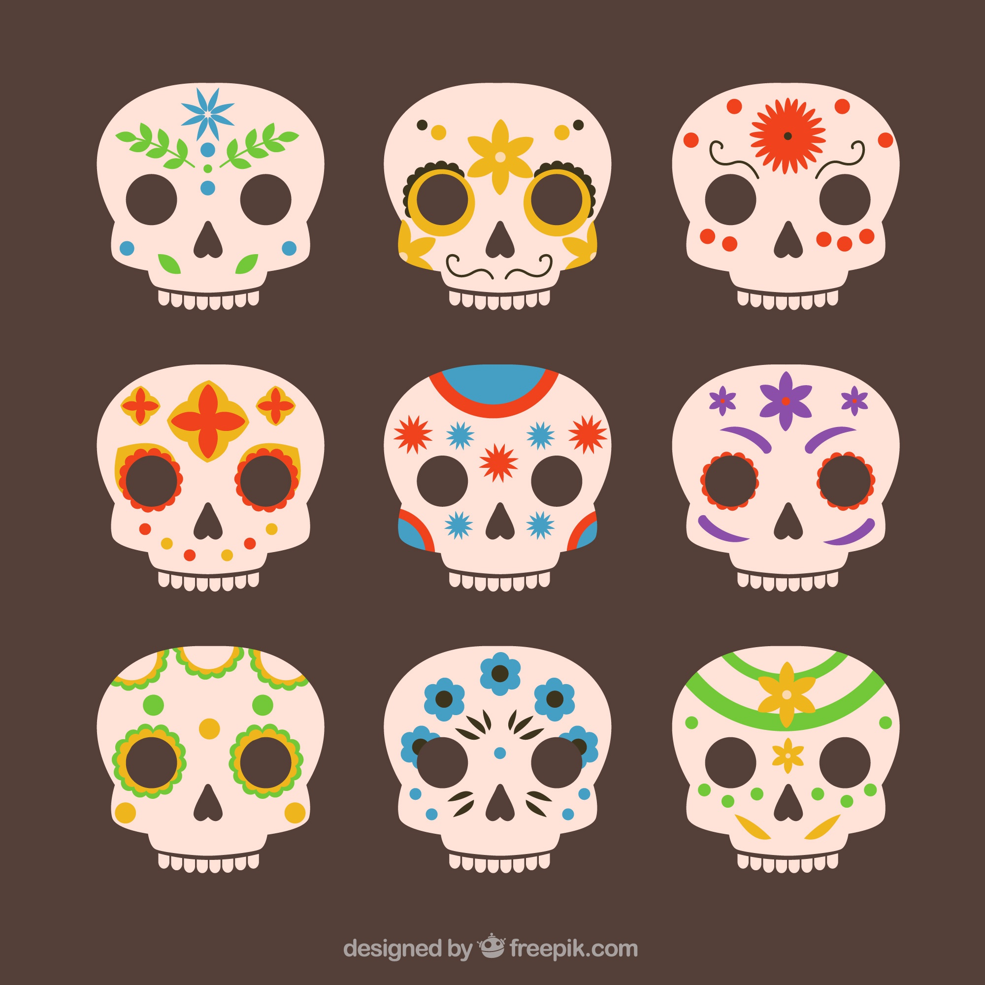 Collection of beautiful mexican skulls