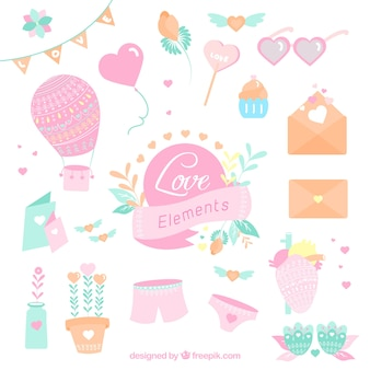 Collection of beautiful romantic elements in pastel color