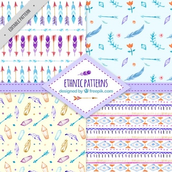 Collection of beautiful watercolor ethnic patterns