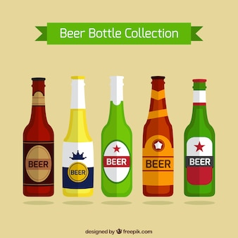 Collection of beer bottles in flat design
